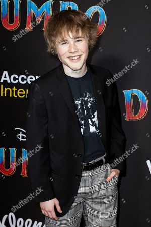 Casey Simpson poses for the photographers as he arrives for the premiere of 'Dumbo' at the El Capitan Theater in Hollywood, California, 11 March 2019. The movie 'Dumbo' will start screening on 29 March 2019.