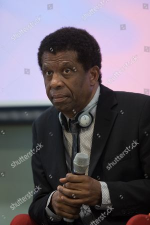 Stock Photo of Haitian-Canadian novelist, journalist and member of the Academie franaise Dany Laferriere speaks during a talk at the University of Hong Kong in Hong Kong, China, 12 March 2019. Laferriere attended a literary event ahead of the International Francophonie Day which is celebrated on 20 March.