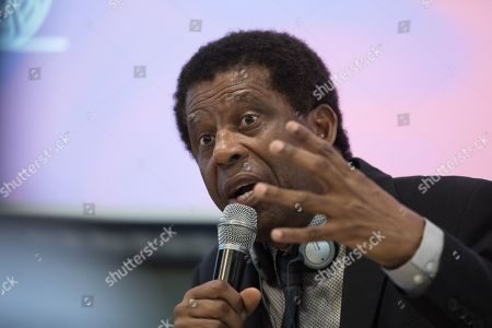 Stock Picture of Haitian-Canadian novelist, journalist and member of the Academie franaise Dany Laferriere speaks during a talk at the University of Hong Kong in Hong Kong, China, 12 March 2019. Laferriere attended a literary event ahead of the International Francophonie Day which is celebrated on 20 March.