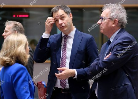 Spanish Economy Minister Nadia Calvino (L), Belgium Minister Finance Alexander De Croo  and Luxembourg's Finance Minister Pierre Gramegna (R) during the European Finance Ministers' meeting in Brussels, Belgium, 12 March 2019.