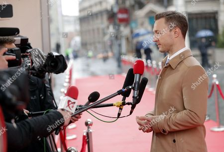 Austria's Federal Minister for the EU, Arts , Culture and Media, Gernot Blumel, makes a media statement as he arrives for the Informal Meeting of Ministers and State Secretaries for European Affairs, held at the National Bank Headquarters in Bucharest, Romania, 12 March 2019.