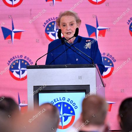 Former US Secretary of State Madeleine Albright addresses a ceremony marking the 20th anniversary of the Czech Republic's accession to the North Atlantic Treaty Organization (NATO), in Prague, Czech Republic, 12 March 2019.