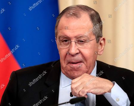 Russian Foreign Minister Sergei Lavrov attends a joint news conference with Austrian counterpart in Moscow, Russia, 12 March 2019. Austrian Foreign Minister Karin Kneissl is on a working visit in Moscow to discuss a wide range of bilateral issues and prospects in order to promote bilateral cooperation.