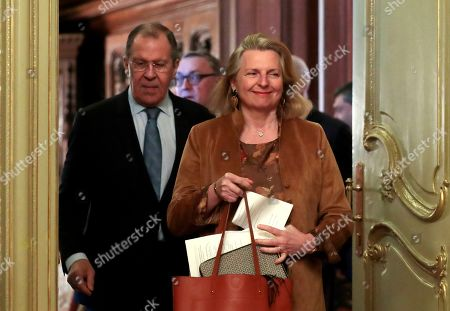 Austrian Foreign Minister Karin Kneissl (R) and Russian Foreign Minister Sergei Lavrov (L) prior to a signing ceremony following their talks in Moscow, Russia, 12 March 2019.  Austrian Foreign Minister Karin Kneissl is on a working visit in Moscow to discuss a wide range of bilateral issues and prospects in order to promote bilateral cooperation.