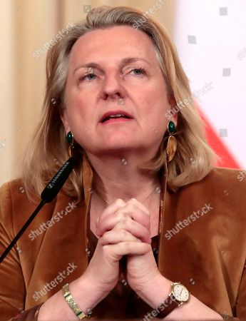 Austrian Foreign Minister Karin Kneissl attends a joint news conference with Russian counterpart following their meeting in Moscow, Russia, 12 March 2019. Kneissl is on a working visit in Moscow to discuss a wide range of bilateral issues and prospects in order to promote bilateral cooperation.
