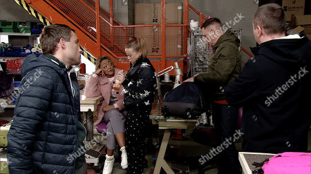 Stock Photo of Ep 9720 Monday 18th March 2019 - 1st Ep Paul, as played by Peter Ash, and Kirk Sutherland, as played by Andrew Whyment, Sean Tully, as played by Antony Cotton