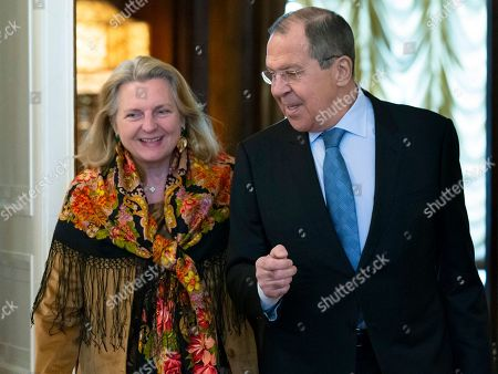 Sergey Lavrov, Karin Kneissl. Russian Foreign Minister Sergey Lavrov, right, welcomes Austrian Foreign Minister Karin Kneissl for talks in Moscow, Russia