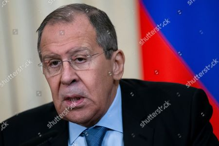 Russian Foreign Minister Sergey Lavrov speaks during a joint news conference with Austrian Foreign Minister Karin Kneissl following their talks in Moscow, Russia