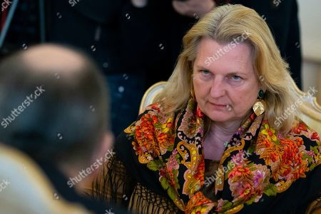 Sergey Lavrov, Karin Kneissl. Austrian Foreign Minister Karin Kneissl speaks to Russian Foreign Minister Sergey Lavrov, back to a camera, during their talks in Moscow, Russia