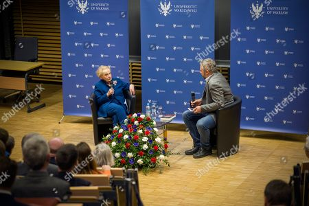 Madeleine Albright in a discussion with Bartosz T. Wielinski, a head of the Foreign Affairs department of the 'Gazeta Wyborcza' newspaper