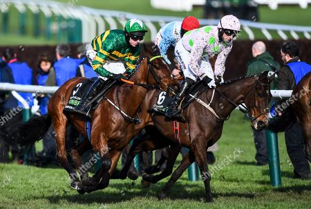 Mark Walsh riding Espoir D'Allen and Patrick Mullins riding Sharjah on the first round of the Unibet Champion Hurdle Challenge Trophy