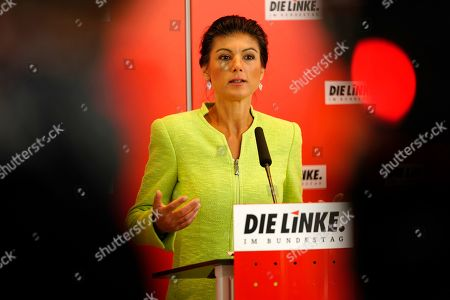 Sahra Wagenknecht, Co-chairwoman of the parliamentary group of The Left (Die Linke) party in the Bundestag speaks during a press statement prior to the Bundestag faction meeting of The Left in Berlin, Germany, 12 March 2019. Wagenknecht announced on 11 March 2019 that she does not want to run for the position of chairwoman of the parliamentary group again. Earlier she quit the leadership of the German left-wing movement 'Stand Up' that she co-founded in September 2018. According to media reports, Wagenknecht is said to have given health reasons for the withdrawal from these two leading positions.