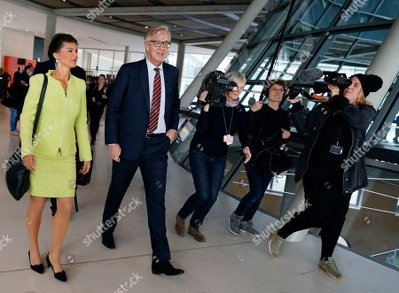 Sahra Wagenknecht (L), co-chairwoman of the parliamentary group of The Left (Die Linke) party in the Bundestag and co-chairman Dietmar Bartsch (2-L) walk to attend the faction meeting of The Left in Berlin, Germany, 12 March 2019. Wagenknecht announced on 11 March 2019 that she does not want to run for the position of chairwoman of the parliamentary group again. Earlier she quit the leadership of the German left-wing movement 'Stand Up' that she co-founded in September 2018. According to media reports, Wagenknecht is said to have given health reasons for the withdrawal from these two leading positions.