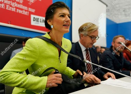 Sahra Wagenknecht (L), co-chairwoman of the parliamentary group of The Left (Die Linke) party in the Bundestag sits next to the co-chairman Dietmar Bartsch (2-L) prior to the Bundestag faction meeting of The Left in Berlin, Germany, 12 March 2019. Wagenknecht announced on 11 March 2019 that she does not want to run for the position of chairwoman of the parliamentary group again. Earlier she quit the leadership of the German left-wing movement 'Stand Up' that she co-founded in September 2018. According to media reports, Wagenknecht is said to have given health reasons for the withdrawal from these two leading positions.