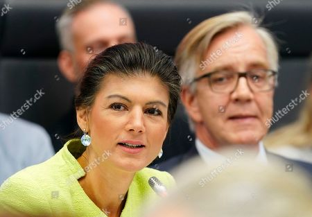 Sahra Wagenknecht (L), co-chairwoman of the parliamentary group of The Left (Die Linke) party in the Bundestag sits next to the co-chairman Dietmar Bartsch (R) opening the Bundestag faction meeting of The Left in Berlin, Germany, 12 March 2019. Wagenknecht announced on 11 March 2019 that she does not want to run for the position of chairwoman of the parliamentary group again. Earlier she quit the leadership of the German left-wing movement 'Stand Up' that she co-founded in September 2018. According to media reports, Wagenknecht is said to have given health reasons for the withdrawal from these two leading positions.