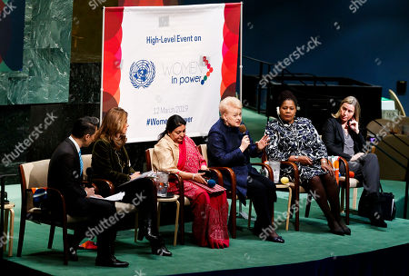 (L-R) TV journalist Richard Lui, Marta Lucia Ramirez, Vice President of the Republic of Colombia, Bidya Devi Bhandari, President of Nepal, Dalia Grybauskaite, President of Lithuania, Paula-Mae Weekes O.R.T.T., President of the Republic of Trinidad and Tobago, and Federica Mogherini, High Representative of the European Union for Foreign Affairs and Security Policy, gather for a roundtable discussion during the high-level event 'Women in Power' in the General Assembly Hall at the United Nations headquarters in New York, New York, USA, 12 March 2019. The event gathered delegates from around the world to discuss women's roles in leadership positions and ways to address issues of gender inequity.