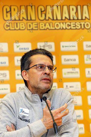 Herbalife Gran Canaria's new head coach Pedro Martinez speaks during a press conference for his presentation in Las Palmas de Gran Canaria, Canary Islands, Spain, 12 March 2019.