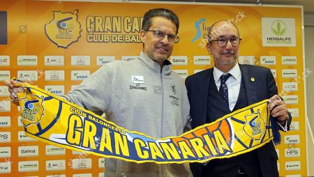 Herbalife Gran Canaria's new head coach Pedro Martinez (L) poses for photographers with the club's president Enrique Moreno (R) during a press conference for his presentation in Las Palmas de Gran Canaria, Canary Islands, Spain, 12 March 2019.