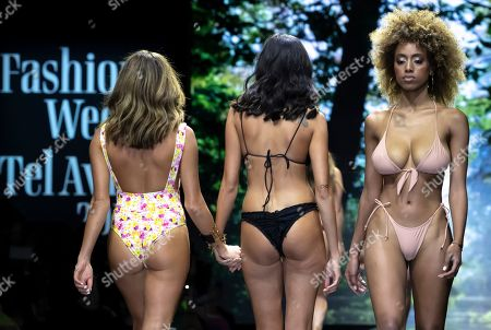 Stock Photo of Models present creations by Israeli designers Neta Alchimister and Noa Beny during their show at the Tel Aviv Fashion Week, in Tel Aviv, Israel, 12 March 2019. The event runs from 10 to 13 March.
