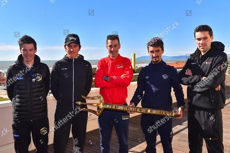 (L-R) Slovenian cyclist Primoz Roglic of Team Jumbo-Visma, British cyclist Geraint Thomas of Team Sky, Italian cyclist Vincenzo Nibali of Bahrain Merida, French cyclist Julian Alaphilippe of Deceuninck Quick Step and Dutch cyclist Tom Dumoulin of Team Sunweb pose for photographs with the trophy of the Tirenno-Adriatico cycling race in Lido di Camaiore, Italy, 12 March 2019. The 54th edition of the Tirenno-Adriatico cycling race takes place from 13 March through 19 March 2019.