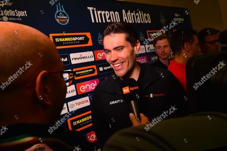 Dutch cyclist Tom Dumoulin of Team Sunweb attends a press conference of the Tirenno-Adriatico cycling race in Lido di Camaiore, Italy, 12 March 2019. The 54th edition of the Tirenno-Adriatico cycling race takes place from 13 March through 19 March 2019.