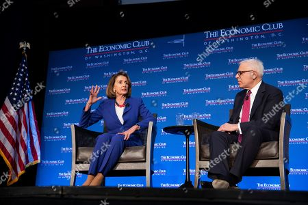 Speaker of the House Nancy Pelosi and Economic Club of Washington President David M. Rubenstein