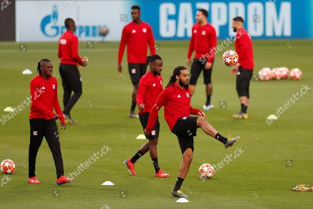 Olympique Lyon's Jason Denayer (C-R) attends  a training session of the team at the Camp Nou stadium in Barcelona, Spain, 12 March 2019. FC Barcelona will face Olympique Lyon in the UEFA Champions League round of 16 second leg soccer match on 13 March 2019.