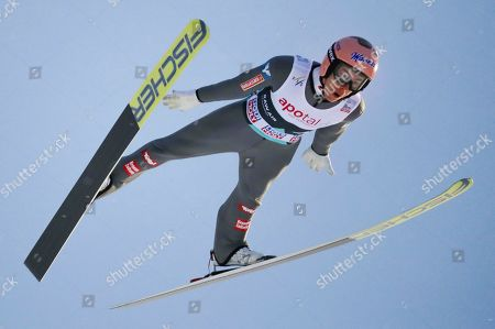 Stefan Kraft of Austria during FIS World Cup Ski Jumping competition at Lillehammer, Norway, 12 March 2019.