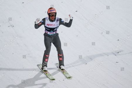 Stefan Kraft of Austria during FIS World Cup Ski Jumping Men competition at Lillehammer, Norway, 12 March 2019.