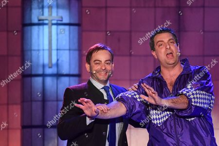 German actor Stephan Zinner (R) as Bavarian state prime minister Markus Soeder and German actor Florian Fischer (L) as Hubert Aiwanger, Bavarian Minister of Economic Affairs and Deputy Prime Minister, perform during the traditional 'Politiker-Derblecken (Singspiel)' (lit.: Deriding of politicians (musical comedy)) on Nockherberg terrace in Munich, Germany, 12 March 2019. The satirical mocking, the 'Derblecken' of politicians, traditionally opens strong beer season in Bavaria.