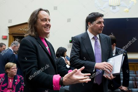 CEO of T-Mobile John Legere (L) and Executive Chairman of Sprint Marcelo Claure (R) arrive to testify before a House Judiciary subcommittee hearing on 'The State of Competition in the Wireless Market: Examining the Impact of the Proposed Merger of T-Mobile and Sprint on Consumers, Workers, and the Internet', on Capitol Hill in Washington, DC, USA, 12 March 2019. Critics of the proposed multi-billion US dollar merger between T-Mobile and Sprint say it would negatively impact the variety and number of jobs in the market.