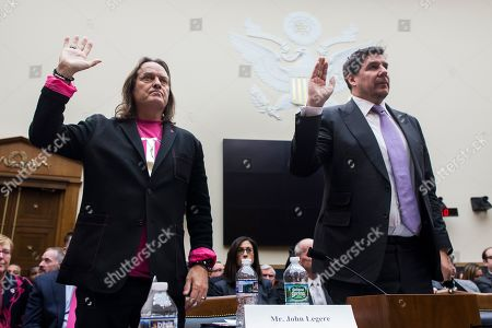 CEO of T-Mobile John Legere (L) and executive chairman of Sprint Marcelo Claure (R) appear before a House Judiciary subcommittee hearing on 'The State of Competition in the Wireless Market: Examining the Impact of the Proposed Merger of T-Mobile and Sprint on Consumers, Workers, and the Internet', on Capitol Hill in Washington, DC, USA, 12 March 2019. Critics of the proposed multi-billion US dollar merger between T-Mobile and Sprint say it would negatively impact the variety and number of jobs in the market.