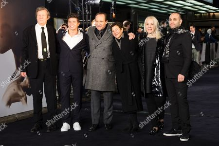 David Hare, Oleg Ivenko, Ralph Fiennes, Gabrielle Tana, Carolyn Marks Blackwood and Ilan Eshkeri attend the UK premiere of 'The White Crow' at Curzon Mayfair in London, Britain, 12 March 2019. The movie is released in British theaters on 22 March.