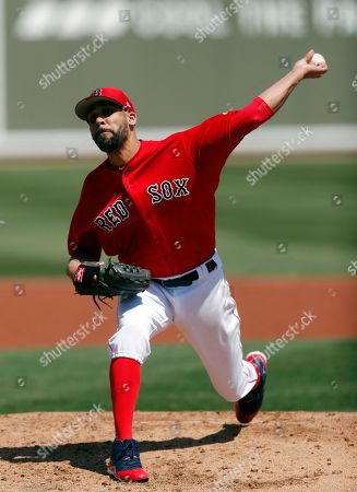 Boston Red Sox starting pitcher David Price (10) works against the Detroit Tigers during a spring training baseball game, in Fort Myers, Fla