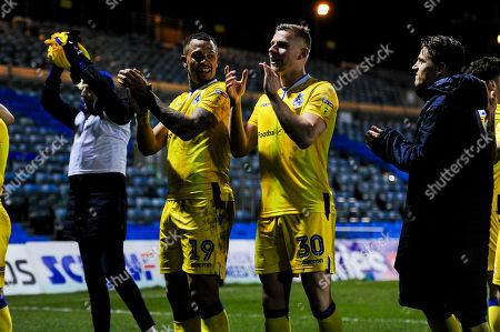 Jonson Clarke-Harris of Bristol Rovers and Alfie Kilgour of Bristol Rovers celebrates after the final whistle of the match