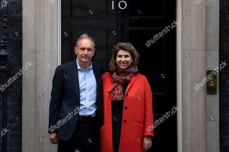 Stock Image of Sir Tim Berners-Lee and his wife Rosemary Leith visit 10 Downing Street, London, Britain, 12 March 2019. Sir Berners Lee, who invented the world wide web 30 years ago, has called on users of the internet and governments to do more to tackle the issues of data breaches, hacking and misinformation on the internet.