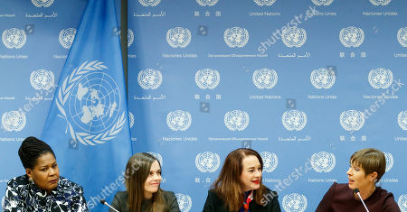 (L-R) Paula-Mae Weekes O.R.T.T., President of the Republic of Trinidad and Tobago, Katrín Jakobsdottir, Prime Minister of Iceland, Maria Fernanda Espinosa Garces, President of the General Assembly, and Kersti Kaljulaid, President of Estonia, hold a press conference on the sidelines of the high-level event 'Women in Power' at United Nations headquarters in New York, New York, USA, 12 March 2019. The event gathered delegates from around the world to discuss women's roles in leadership positions and ways to address issues of gender inequity.