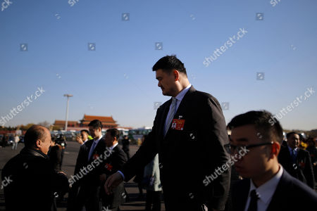 Former NBA player Yao Ming arrives for the closing of the Second Session of the 13th Chinese People's Political Consultative Conference (CPPCC) National Committee outside the Great Hall of the People (GHOP) in Beijing, China, 13 March 2019. The CPPCC is the top advisory body of the Chinese political system and runs alongside the annual plenary meetings of the 13th National People's Congress (NPC), together known as 'Lianghui' or 'Two Meetings'.