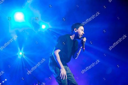 Stock Photo of Mike Shinoda performs during his concert in Papp Laszlo Budapest Sports Arena in Budapest, Hungary, 12 March 2019.