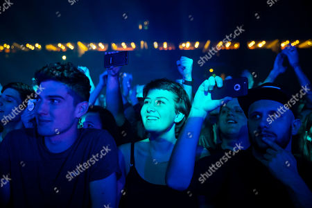 Stock Image of Fans enjoy the concert of American singer and songwriter Mike Shinoda in Papp Laszlo Budapest Sports Arena in Budapest, Hungary, 12 March 2019.