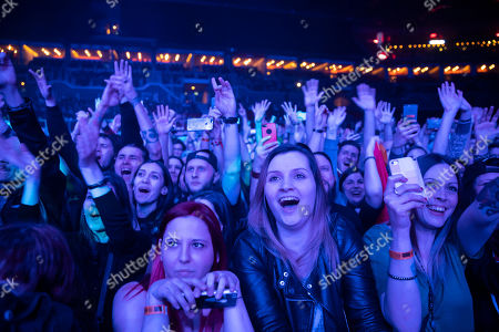 Fans enjoy the concert of American singer and songwriter Mike Shinoda in Papp Laszlo Budapest Sports Arena in Budapest, Hungary, 12 March 2019.