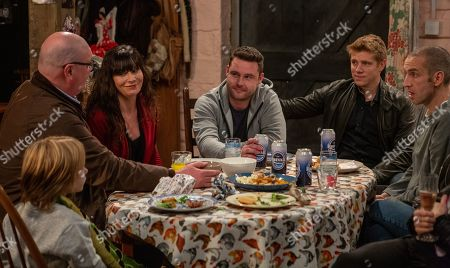 Ep 8421 & Ep 8422 Tuesday 19th March 2019 Paddy Kirk, as played by Dominic Brunt ; Chas Dingle, as played by Lucy Pargeter, Aaron Livesy, as played by Danny Miller, Robert Sugden, as played by Ryan Hawley, Sam Dingle, as played by James Hooton.