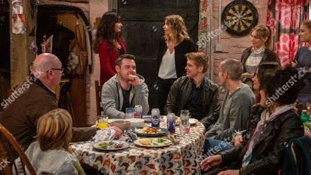 Ep 8421 & Ep 8422 Tuesday 19th March 2019 Paddy Kirk, as played by Dominic Brunt ; Chas Dingle, as played by Lucy Pargeter, Charity Dingle, as played by Emma Atkins, Aaron Livesy, as played by Danny Miller, Robert Sugden, as played by Ryan Hawley, Sam Dingle, as played by James Hooton, Vanessa Woodfield, as played by Michelle Hardwick, Debbie Dingle, as played by Charley Webb, and Faith Dingle, as played by Sally Dexter.