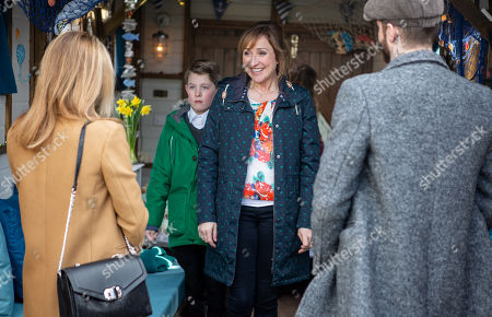 Stock Picture of Ep 8430 Thursday 28th March 2019 - 2nd Ep Laurel Thomas, as played by Charlotte Bellamy, Gabby Thomas, as played by Rosie Bentham, Arthur Thomas, as played by Alfie Clarke