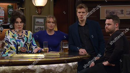 Ep 8428 Wednesday 27th March 2019 Faith Dingle, as played by Sally Dexter, Vanessa Woodfield, as played by Michelle Hardwick, Robert Sugden, as played by Ryan Hawley ; Aaron Livesy, as played by Danny Miller