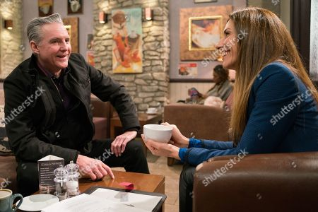 Ep 8426 & Ep 8427 Tuesday 26th March 2019 Frank Clayton, as played by Michael Praed, Megan Macey, as played by Gaynor Faye