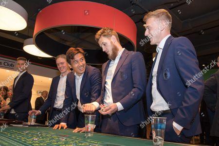 Fredrik Jensen #24 (FC Augsburg), Ja-Cheol Koo #19 (FC Augsburg), Jeffrey Gouweleeuw #6 (FC Augsburg), Georg Teigl #34 (FC Augsburg), Casino Night FC Augsburg,, 13.03.2019