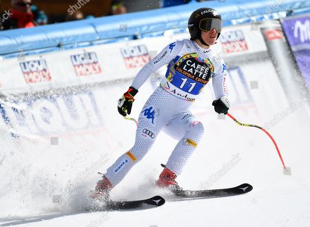 Sofia Goggia of Italy reacts in the finish area during the Women's Downhill race of the FIS Alpine Skiing World Cup finals in Soldeu-El Tarter, Andorra, 13 March 2019.
