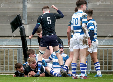 Stock Photo of Crescent College vs Rockwell College. Crescent's John Lyons scores a try