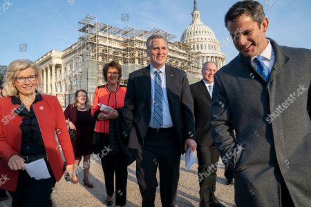 """Liz Cheney, Kevin McCarthy, Steve Scalise, Jackie Walorski, Adam Kinzinger. House Republicans, from left, Conference Chair Rep. Liz Cheney, R-Wyo., Rep. Jackie Walorski, R-Ind., House Minority Leader Kevin McCarthy, R-Calif., House Minority Whip Steve Scalise, R-La., and Rep. Adam Kinzinger, R-Ill., arrive for a news conference to discuss the """"Born-Alive Abortion Survivors Protection Act"""" that would require babies who survive attempted abortions to receive medical care, at the Capitol in Washington"""
